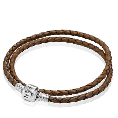 Moments Double Woven Leather Bracelet Brown 590705cbn