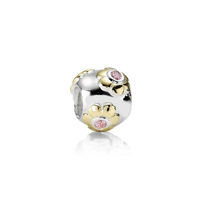 Charm Raised Flower Pink Cubic Zirconia 790207pcz