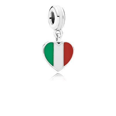 Italy heart flag silver dangle with green, white and red enamel ...