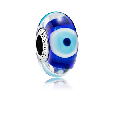 Evil Eye Silver Charm With Dark Blue Turquoise White And
