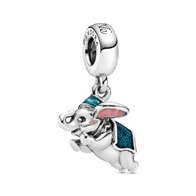 Disney Flying Dumbo Silver Dangle With Pink And Blue