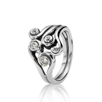 Clear Zirconia Swirl Ring 190388cz Rings Pandora
