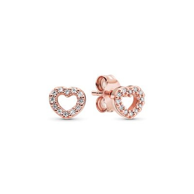 Captured Hearts Stud Earrings Pandora Rose Amp Clear Cz