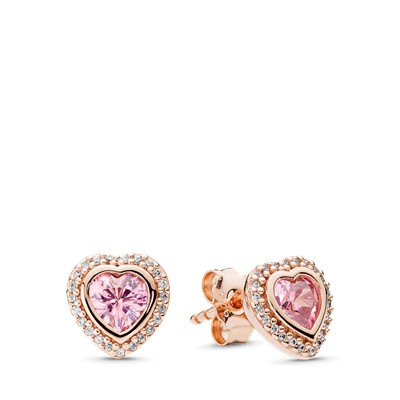 Sparkling Love Stud Earrings Pandora Rose Amp Pink Amp Clear