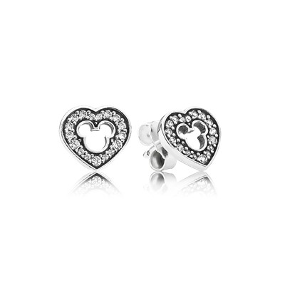 pandora disney earrings disney mickey silhouette stud earrings clear cz 9020